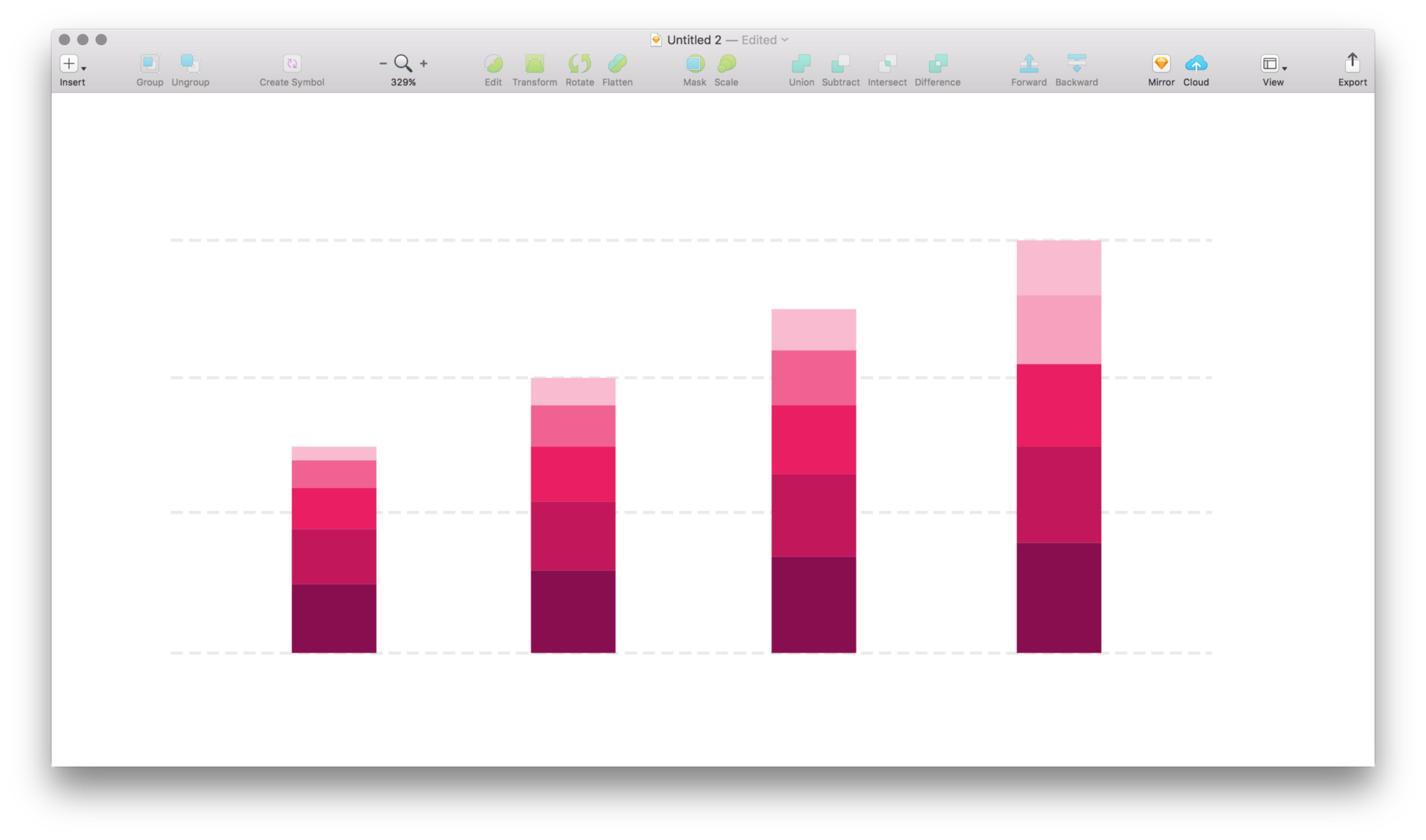 Drawing rectangles sketch. Tame stacked bar charts