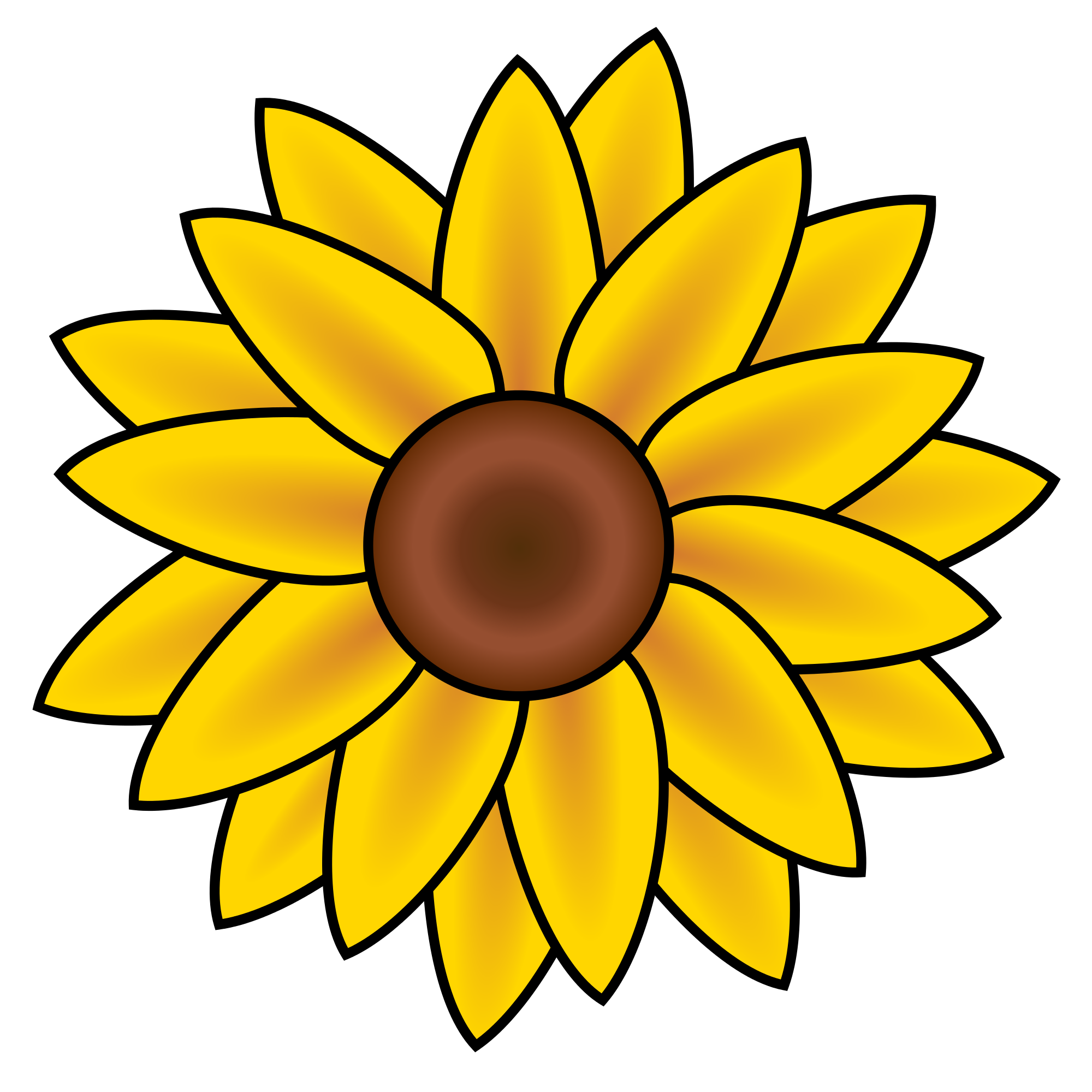 Drawing medium sunflower. Collection of free svg