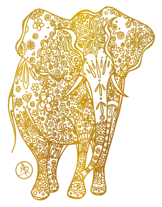 Drawing medium unique. Golden elephant art by