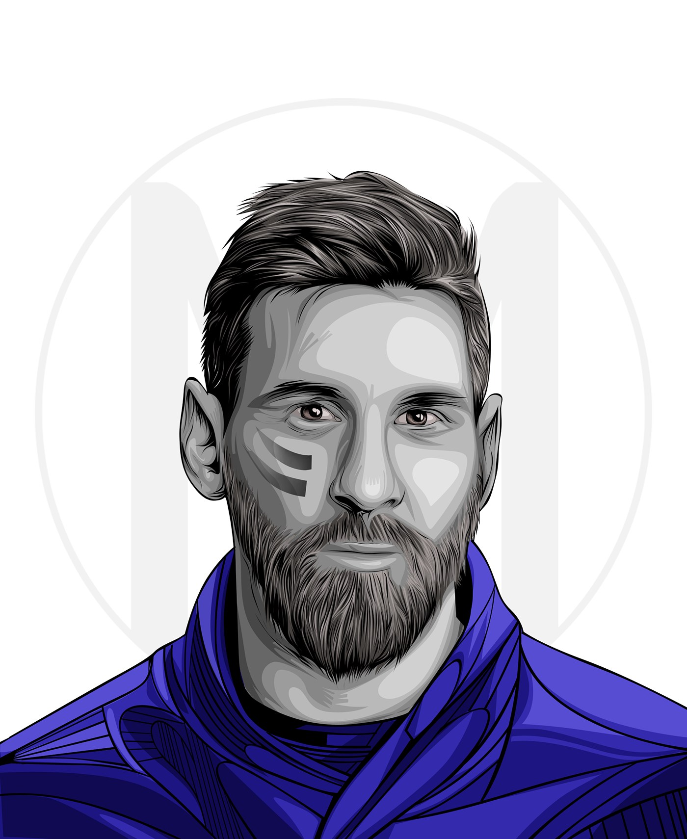 Drawing messi portrait. On behance thank you