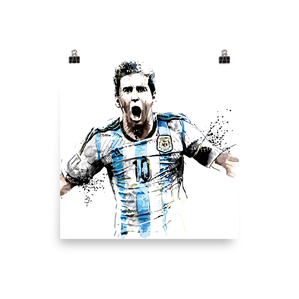 Drawing messi portrait. Poster football gift co