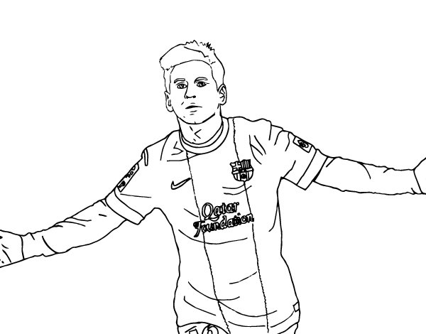 Drawing messi line. Coloring page coloringcrew com