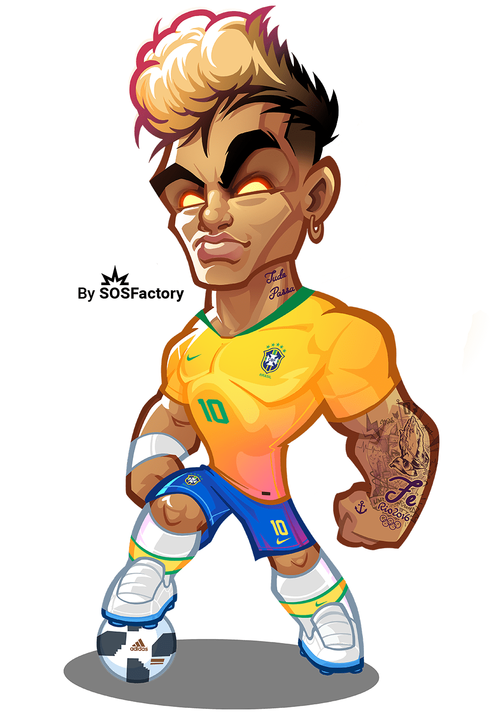Drawing messi neymar jr. Worldcup russia mascotization project