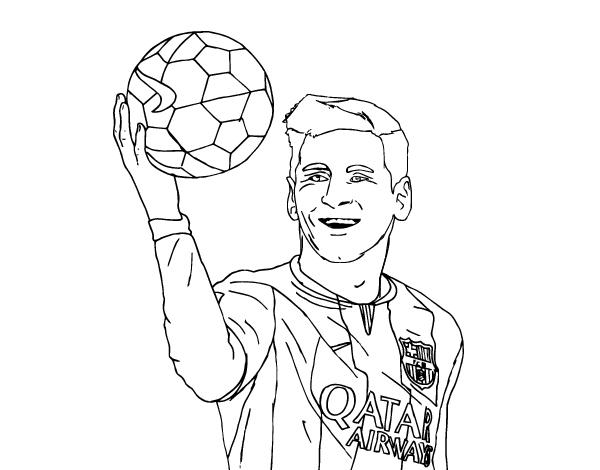 Drawing messi outline. Collection of coloring