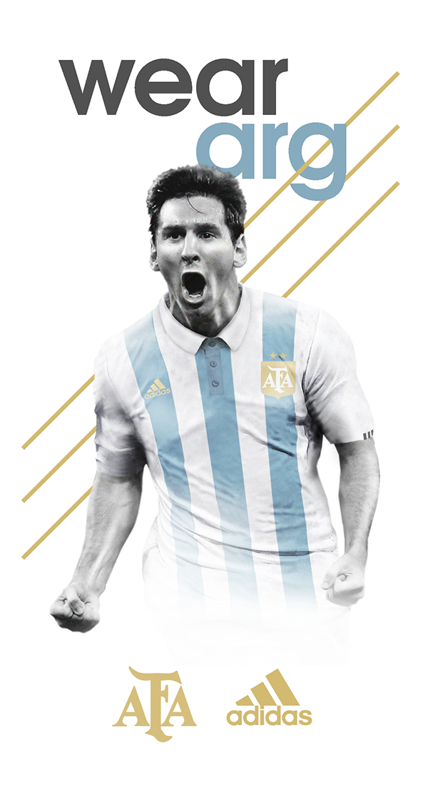 Drawing messi poster. Argentina s kit adidas