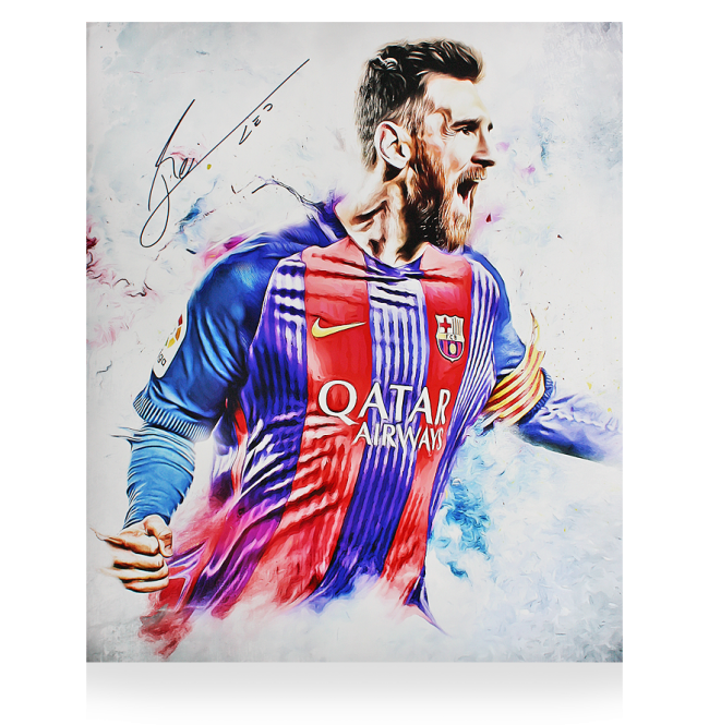 Drawing messi poster. Lionel official signed barcelona