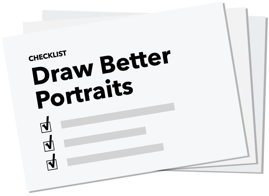 Portrait checklist from pencil. Drawing resources image black and white stock