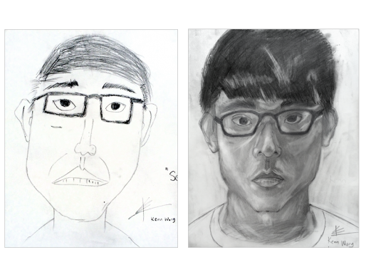 Drawing method portrait. On the right side