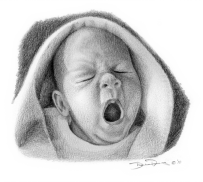 Drawing methods hyperrealism. Young baby yawning artist