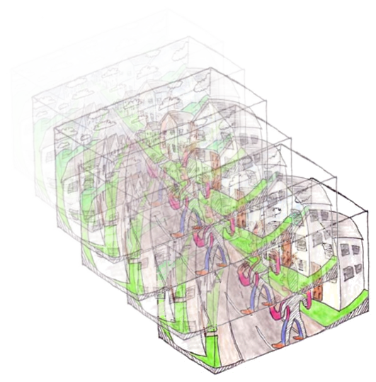 Architect vector momentary city. Psychedelic cryptography qualia computing