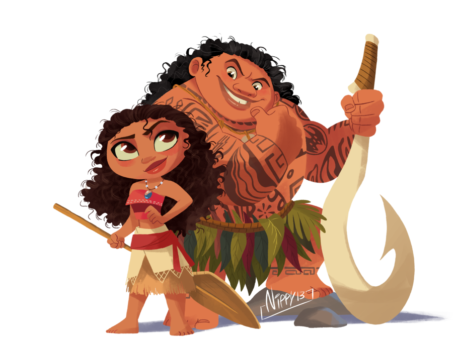 Drawing moana chibi. And maui by nippy