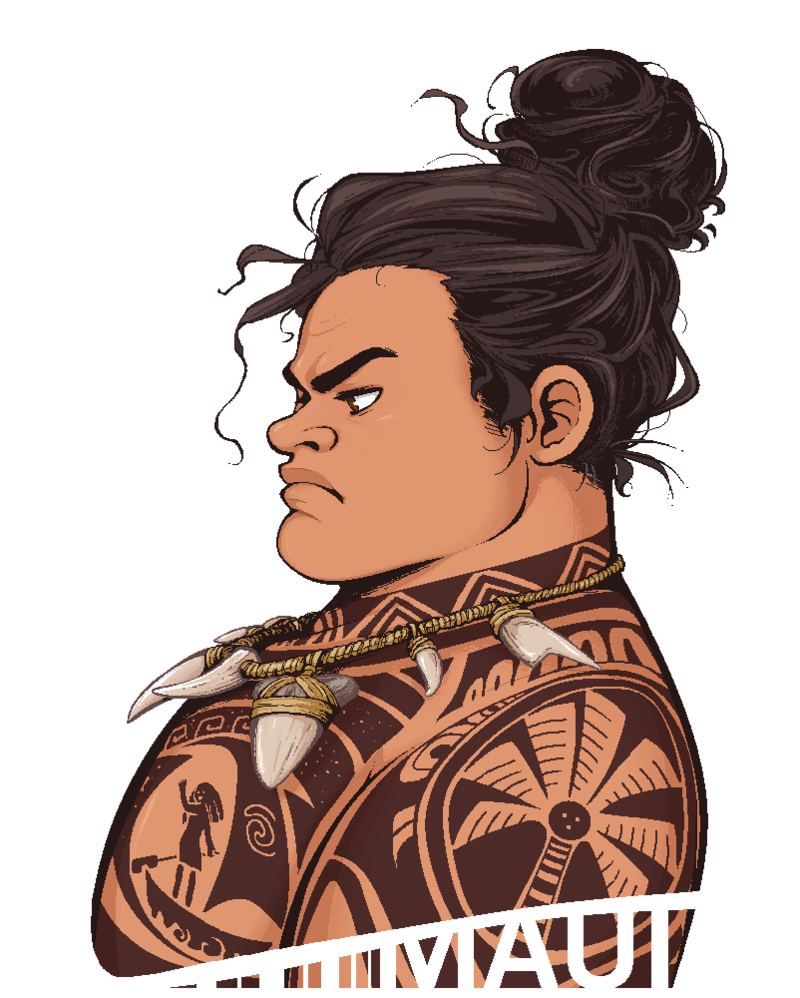 Drawing moana real life. Maui serious hair bun