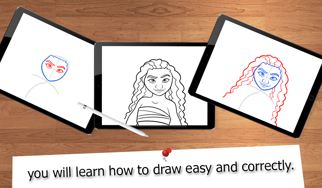 Drawing moana step by. Lessons apk download android