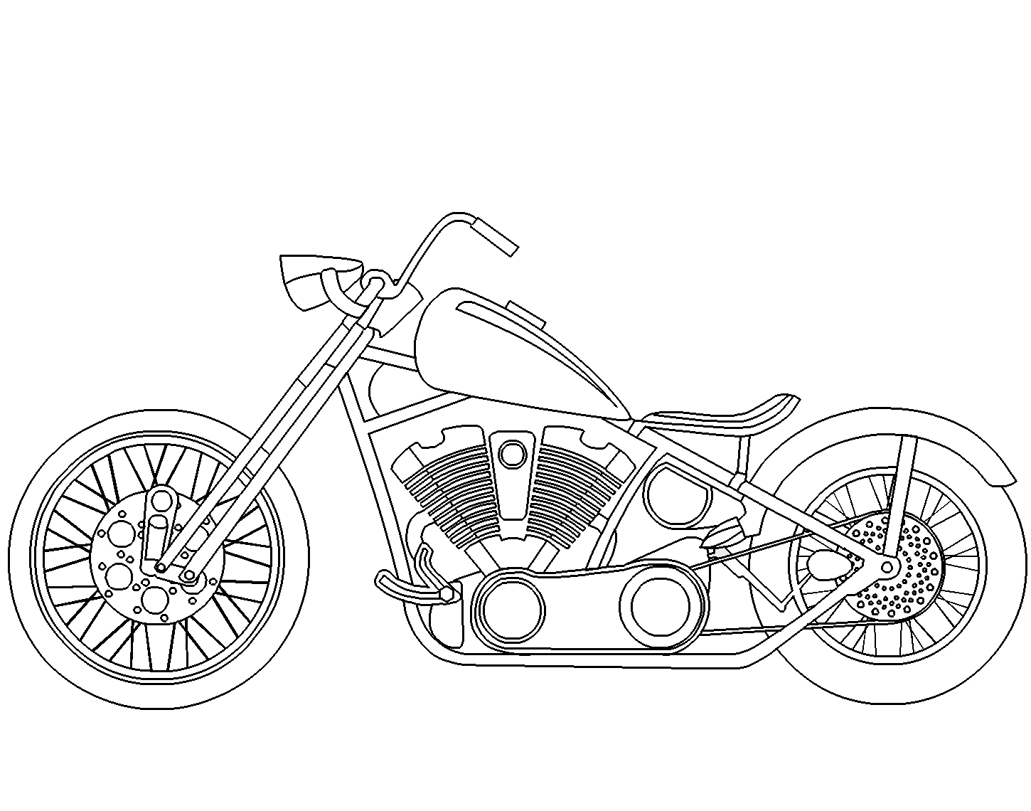 Rotate Resize Tool Drawing Motorcycle Chopper