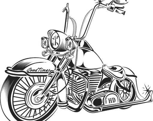 Drawing motorcycle harley. Collection of old