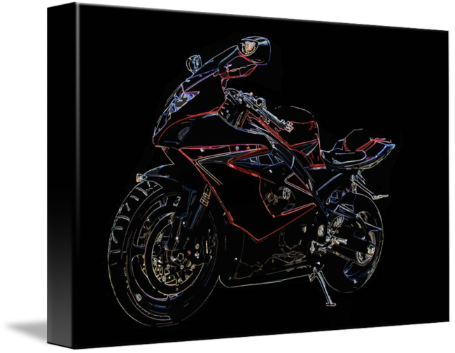 Drawing motorcycle sport bike. Color line of a