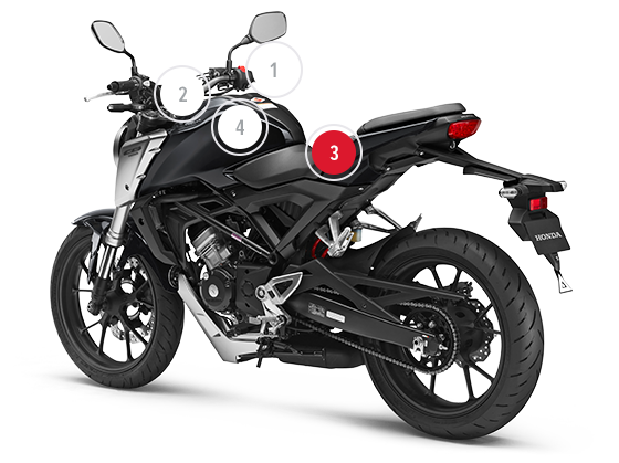 Drawing motorcycle side view. Honda cb r overview