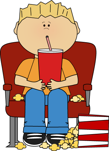 Drawing movies movie theater. Boy in with popcorn
