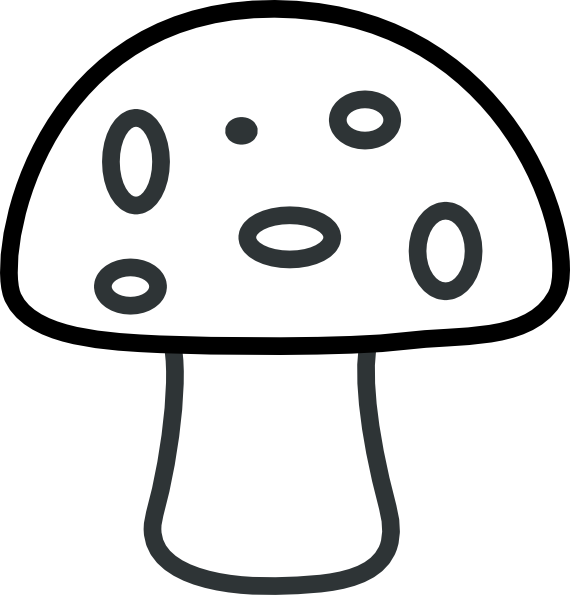 Drawing mushrooms cartoon. Black and white mushroom