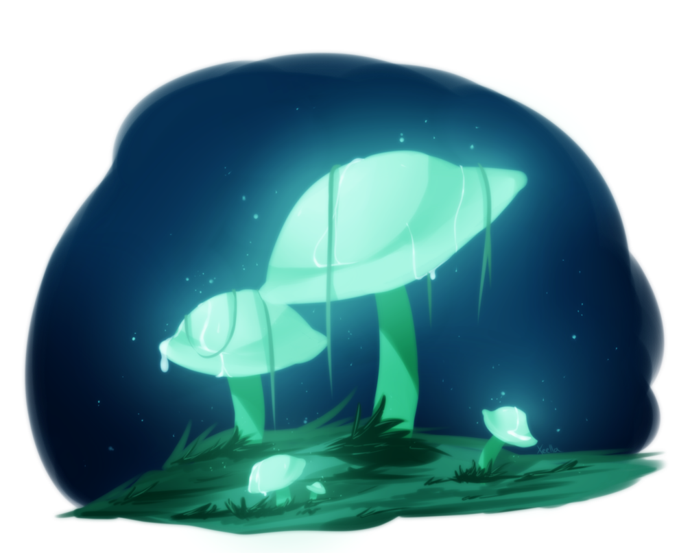 Drawing mushrooms doodle. Glow by xeella on