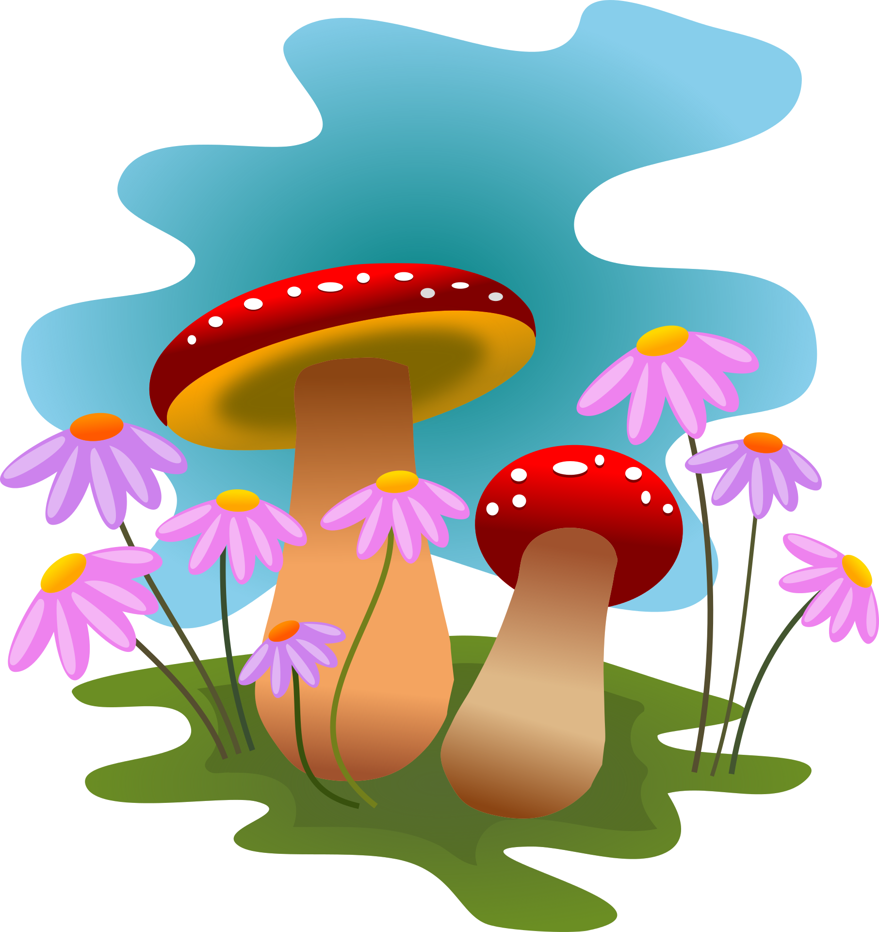 Drawing mushrooms flower. And flowers clipart x