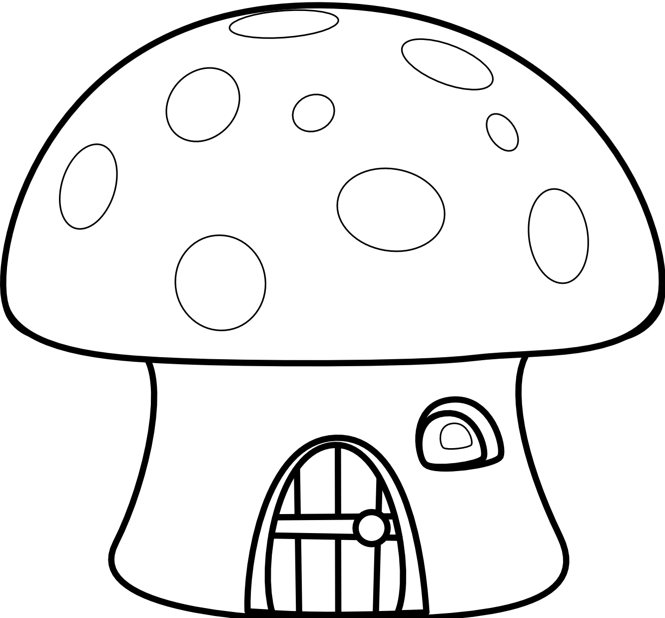 Drawing mushrooms house. Collection of mushroom