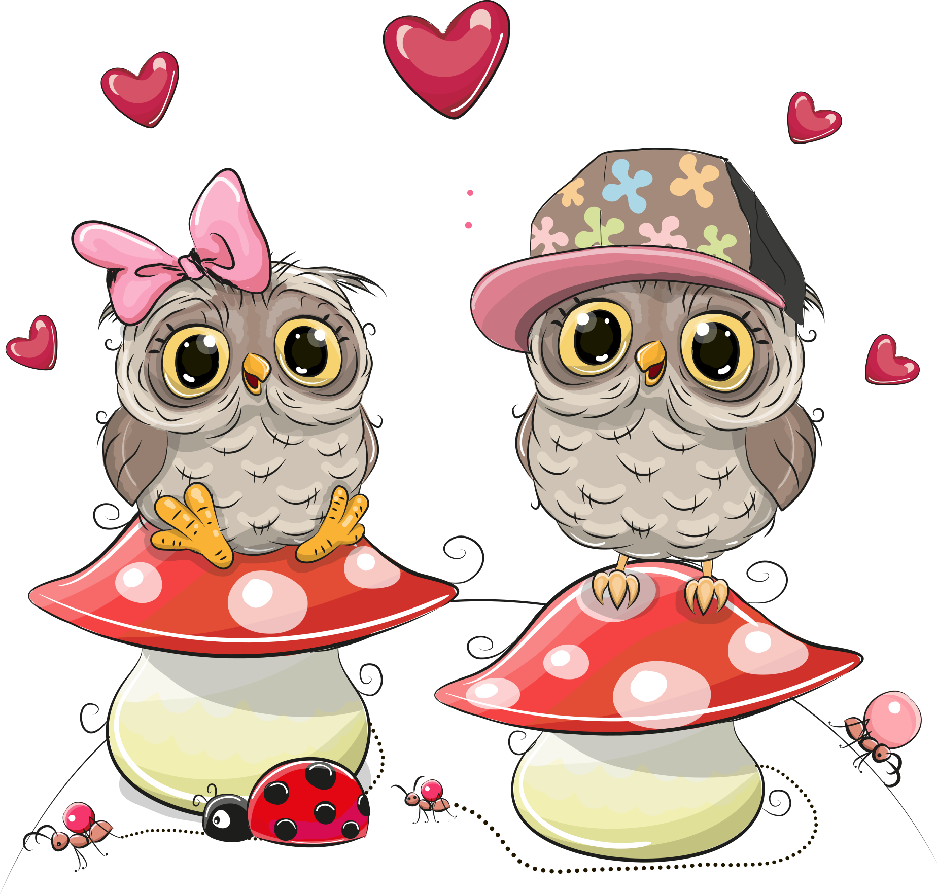 Owl drawing illustration on. Mushrooms vector cute little vector royalty free download