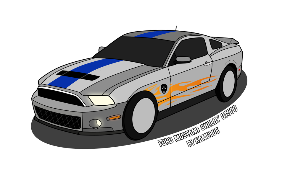 Ford shelby gt by. Drawing mustang gt500 image black and white stock