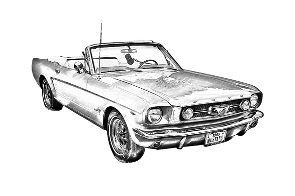 Drawing mustang muscle car. Red ford convertible