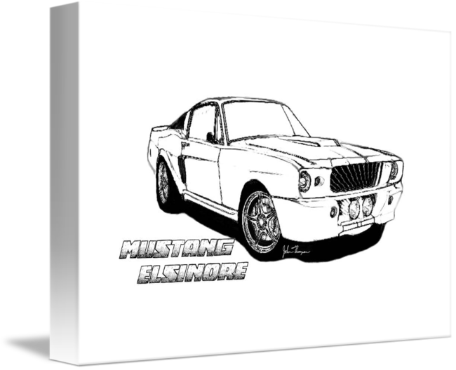Drawing mustang muscle car. Elsinore line by john
