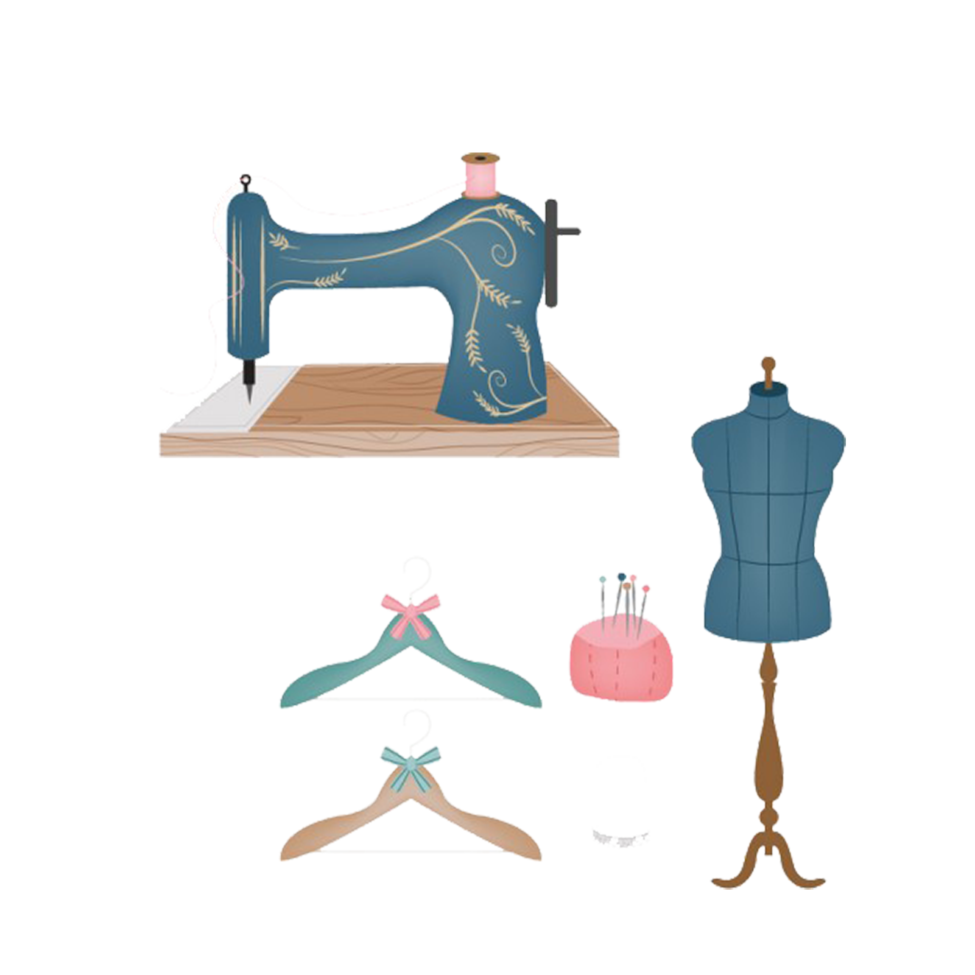 Drawing needle tailor. Sewing machine clip art