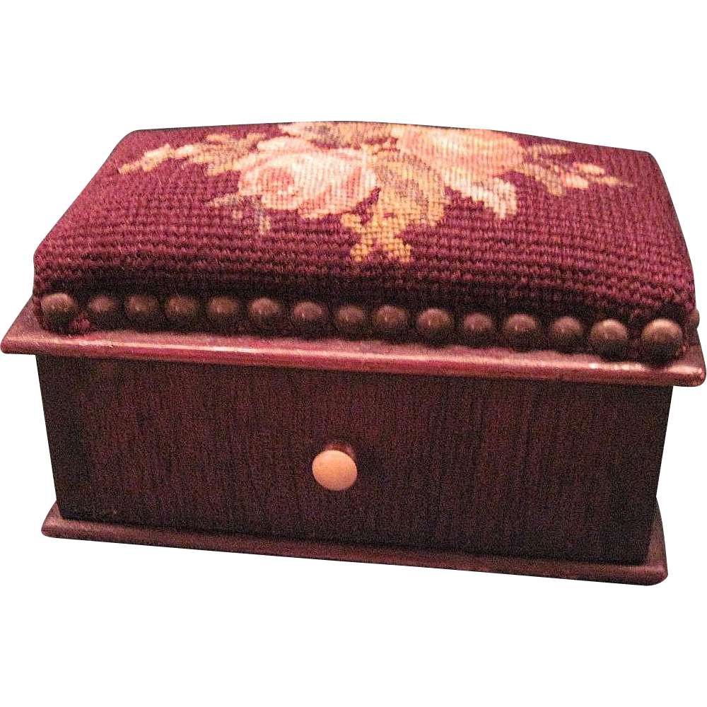 Sewing drawing pin cushion. Antique box with one