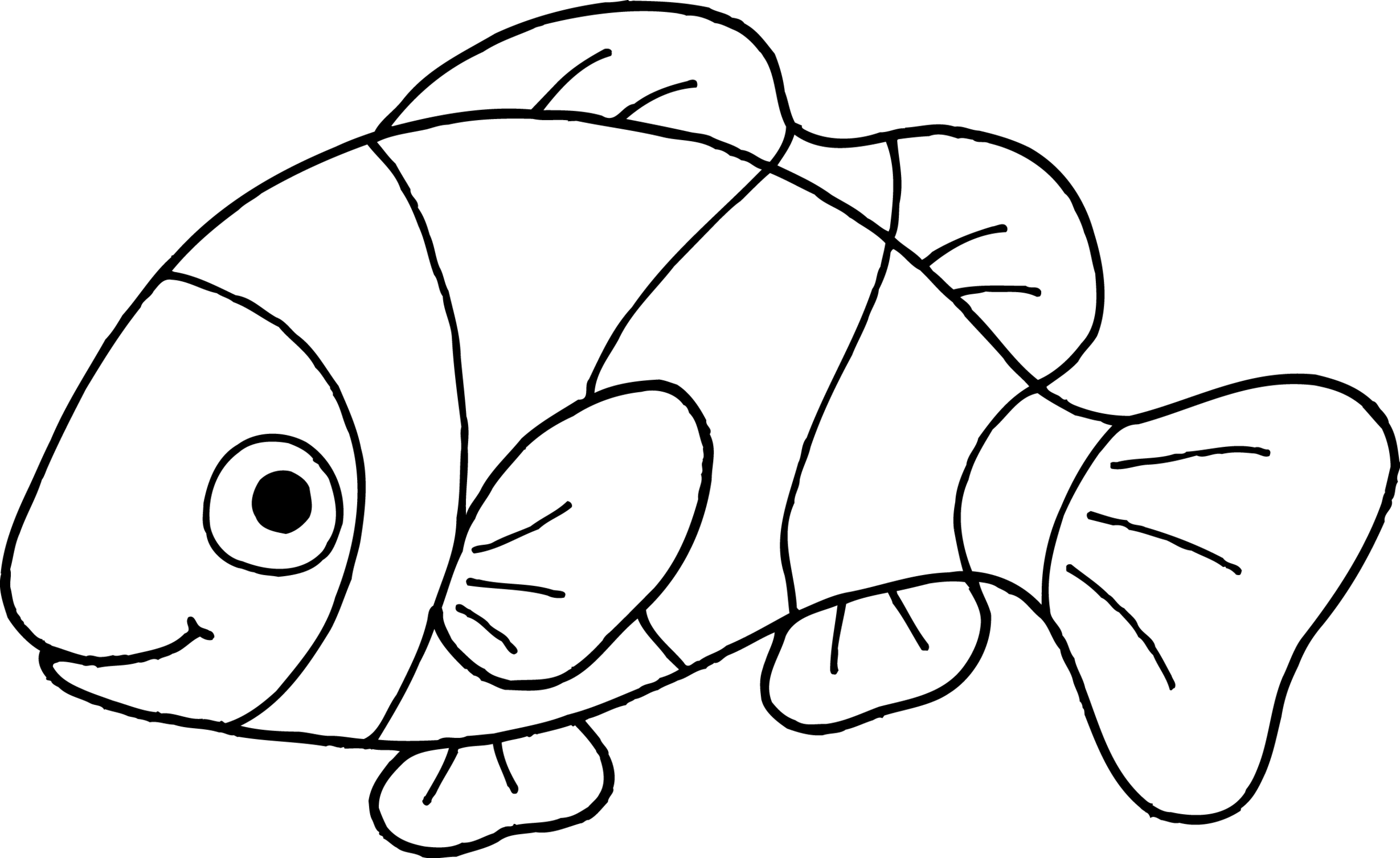 Drawing nemo line. Collection of fish