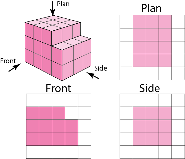 Drawing nets cuboid. Plan and elevation drawings