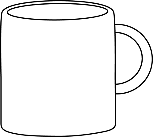 Drawing object cup. Mug clipart black and