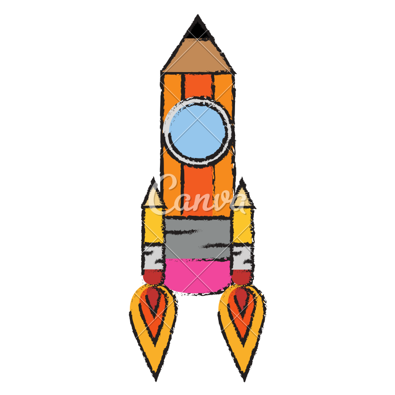 Drawing object pencil. Rocket icons by canva