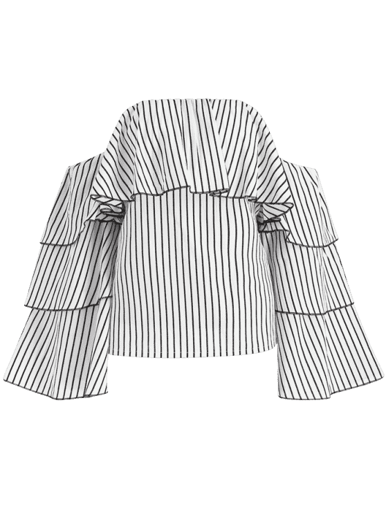 Drawing off shoulder. Stripes overlay top white