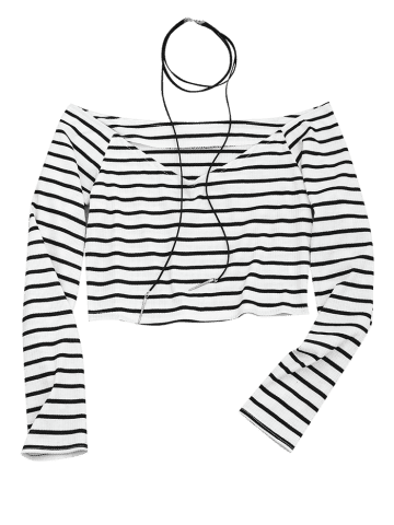 Drawing off shoulder. Women striped knitted cropped