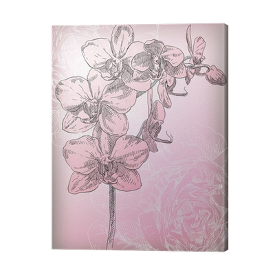 Drawing orchid abstract. Hand flower canvas print