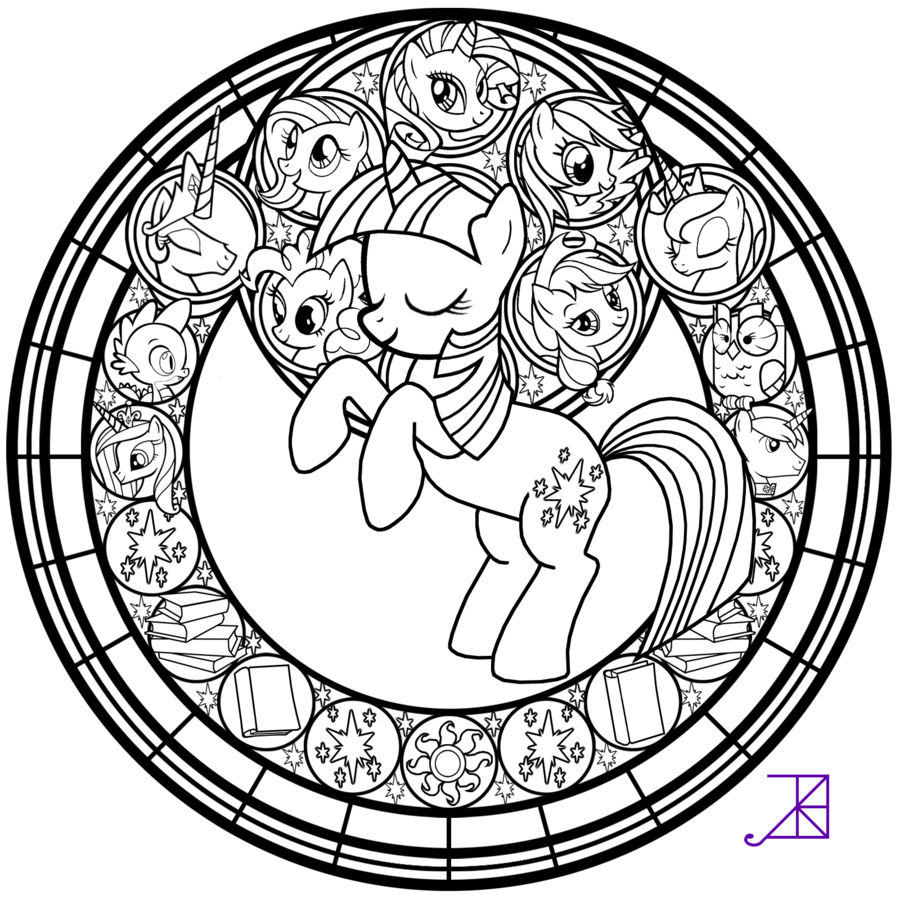 Drawing oval coloring page. Free printable stained glass