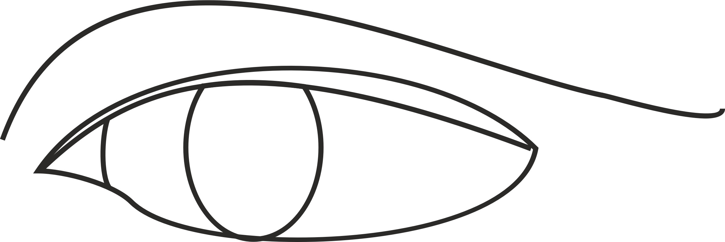 Drawing oval eye. Clipart line