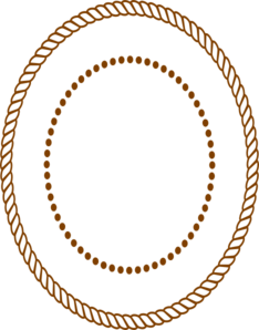 Drawing oval rope. Border brown clip art