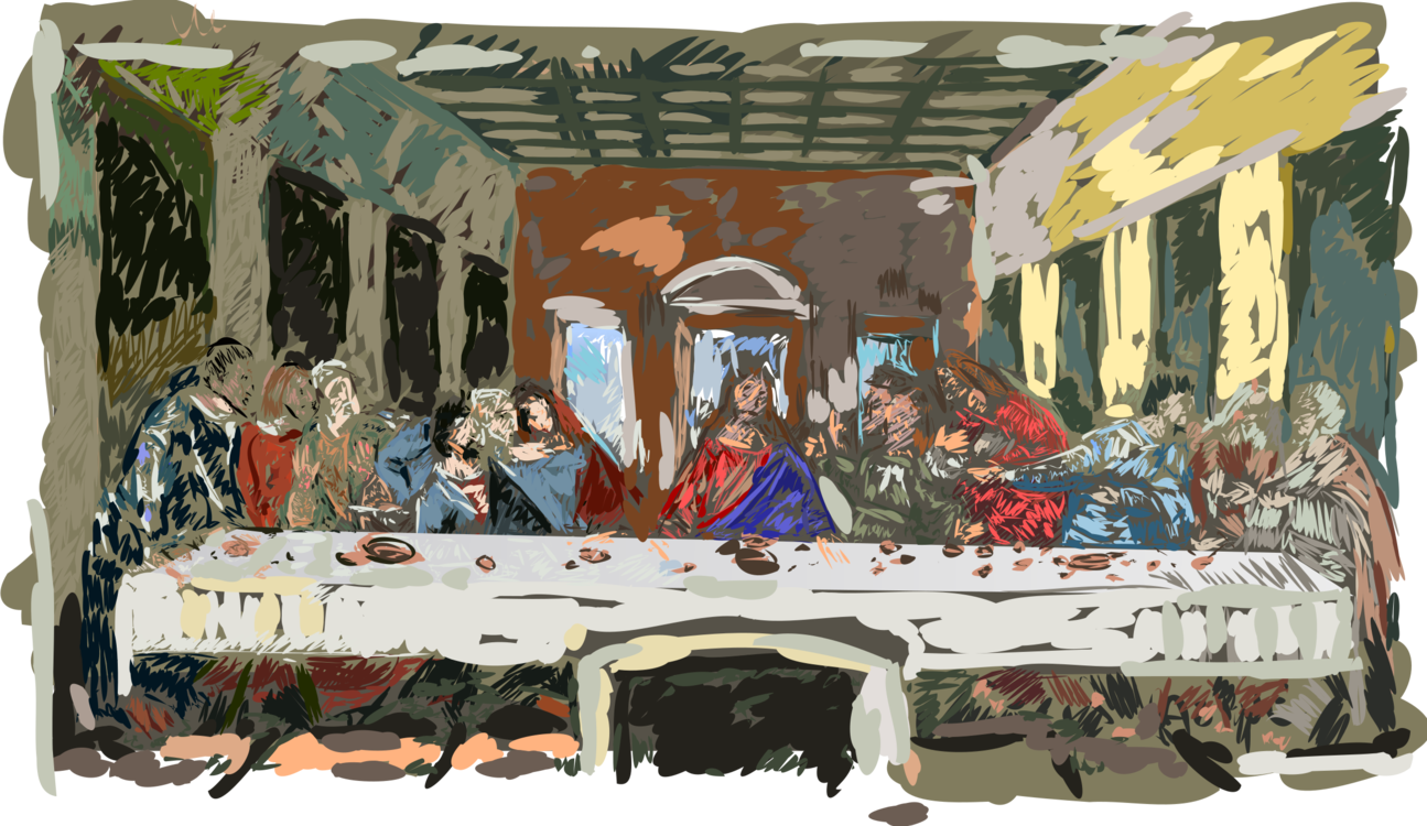 Madonna drawing person. The last supper painting