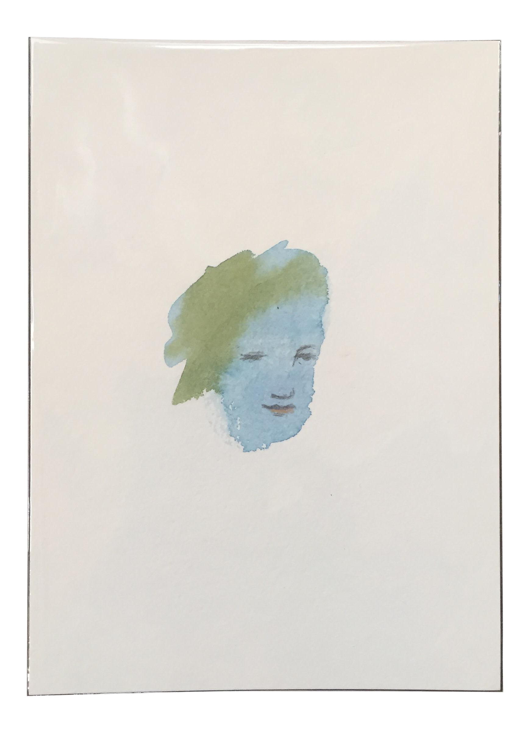 Chihuly drawing paper. Abstract small face watercolor