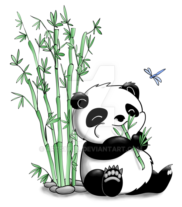Drawing quartering cartoon. Panda eating bamboo by