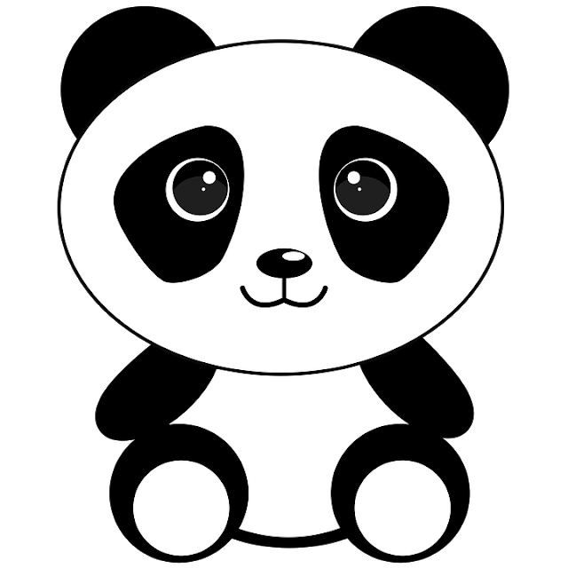 Shy drawing panda. Clip art scrap cute