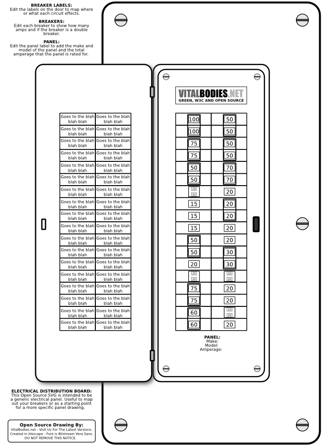 Fabrication drawing electrical panel. Open source svg distribution