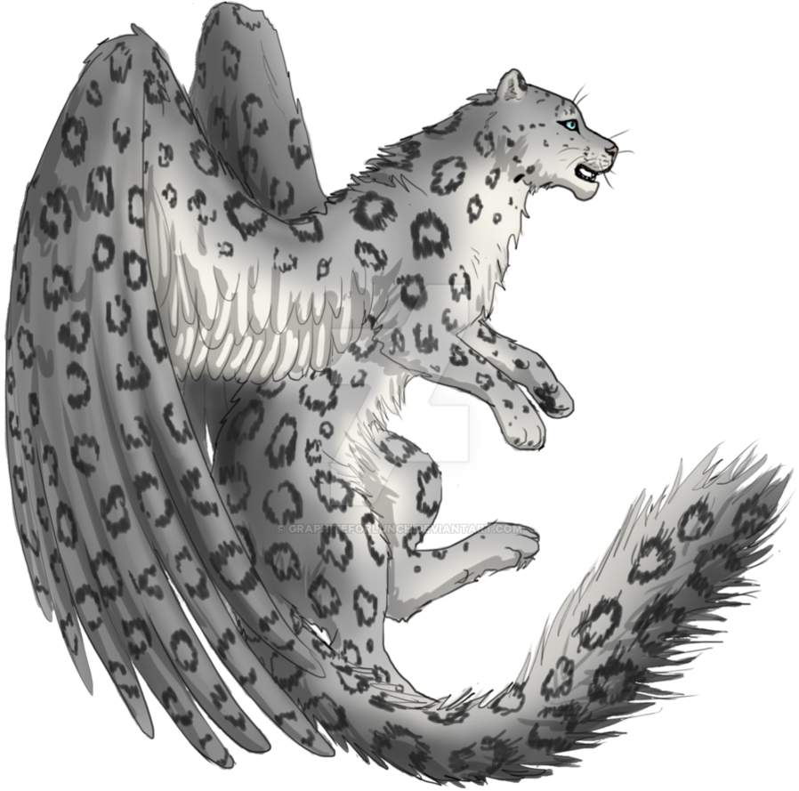 Drawing panther winged. Adoptable snow leopard by