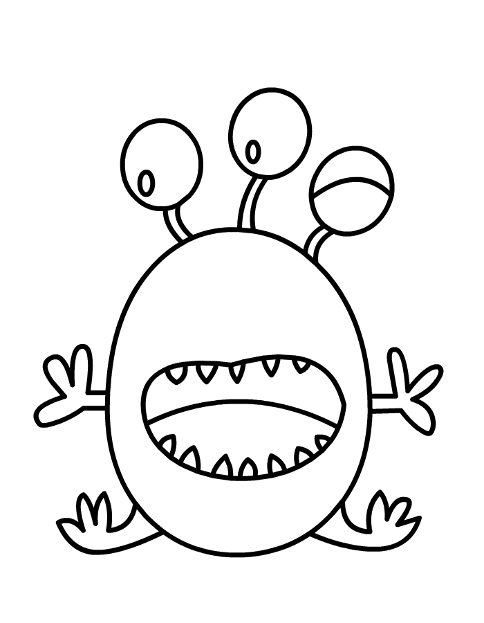 Monster page kal pl. Drawing party coloring clip free stock