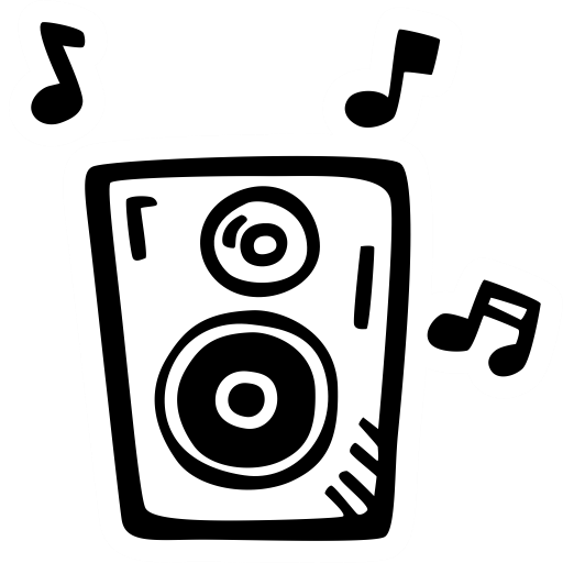 Drawing sound music. Loud icon clamorous piece